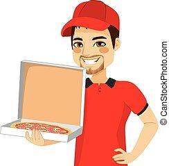 caixa entrega, pizza, segurando, homem