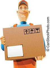 caixa entrega, serviço, homem