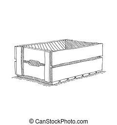 caixa, esboço, madeira, ilustração, mão, vetorial, desenho