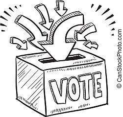caixa, esboço, votando, voto
