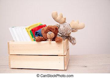 caixa, escola brinca, copyspace, pelúcia, livros, roupas, concept., text., alces, urso, toys., doar, materiais, doação, toy.