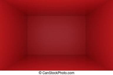 caixa, escuro, dentro, bordas, vermelho