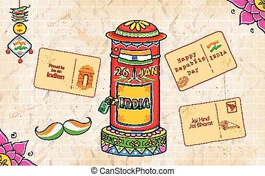 caixa, estilo, índia, letra, poste, kitsch