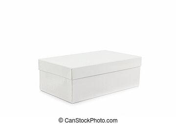 caixa, experiência., branca, sapato