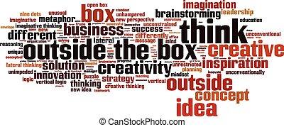caixa, exterior, palavra, pensar, nuvem