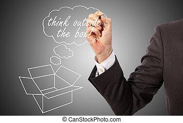 caixa, exterior, pensar, manuscrito