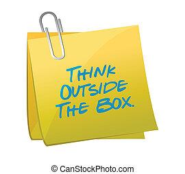 caixa, exterior, post., escrito, mensagem, pensar