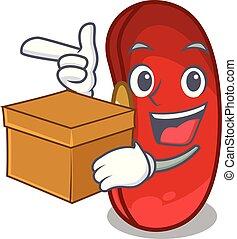 caixa, feijão, tigela, caricatura, vermelho