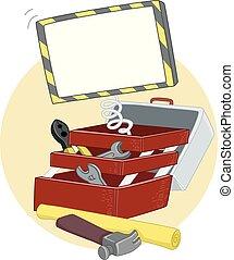 caixa, ferramenta, construção, ilustração