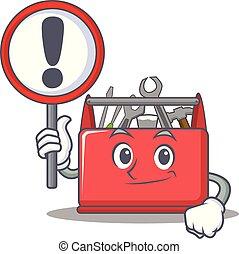 caixa, ferramenta, personagem, caricatura, sinal