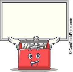 caixa, ferramenta, personagem, cima, tábua, caricatura