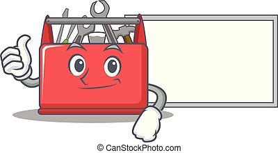 caixa, ferramenta, personagem, cima, tábua, caricatura, polegares