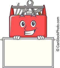 caixa, ferramenta, personagem, sorrindo, tábua, caricatura