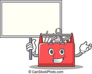 caixa, ferramenta, personagem, trazer, tábua, caricatura