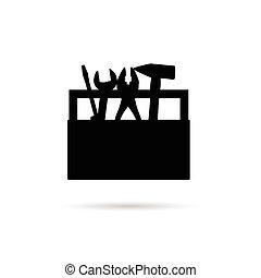 caixa, ferramenta, pretas, ilustração, ícone