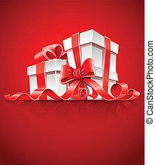 caixa, fita, vermelho, arco presente