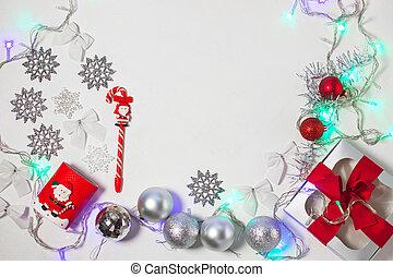 caixa, flatlay., arco presente, prata, composição, vermelho, decorações, natal, fita