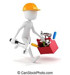 caixa, fundo, branca, 3d, ferramentas, homem