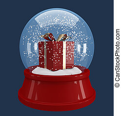 caixa, globo, neve, presente, vermelho