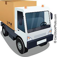 caixa, grande, caminhão entrega