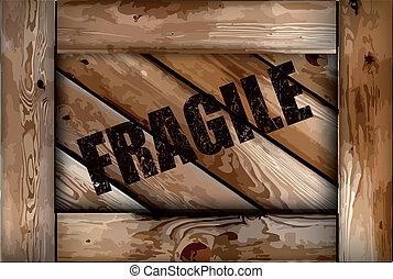 caixa, grunge, madeira, frágil, experiência., vetorial