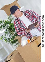 caixa, idade, meio, embalagem, sellotape, papelão, homem