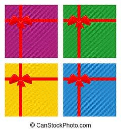 caixa, illustration., presente, bow., vetorial, cartão, ou, vermelho