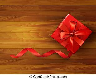 caixa, illustration., presente, bow., vetorial, fundo, feriado, vermelho