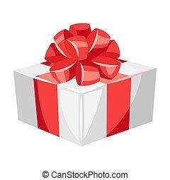 caixa, ilustração, vermelho, presente, bow.