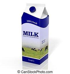 caixa, isolado, branca, caixa papelão, leite, 3d