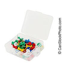 caixa, isolado, plástico, branca, thumbtacks, transparente