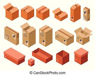 caixa, isometric, pacote, despacho, vetorial, papelão