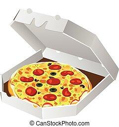 caixa, italiano, papel, pizza
