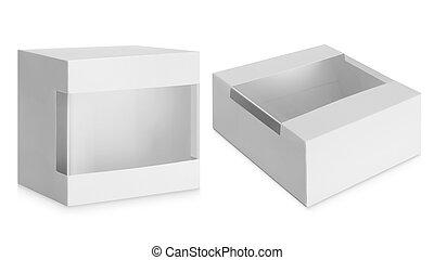 caixa, janela, papelão, transparente, plástico
