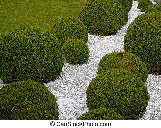 caixa, jardim, detalhe, árvores, branca, cascalho