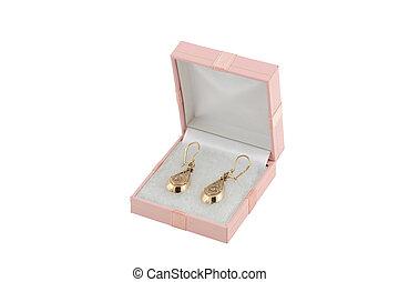 caixa, jewelery, earing, ouro, 025