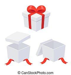 caixa, jogo, abertos, presente