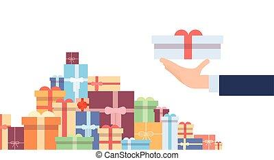 caixa, jogo, coloridos, presente, cobrança, mão, ter, bandeira, presente