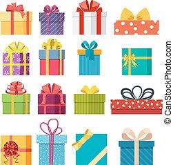 caixa, jogo, vetorial, presente natal