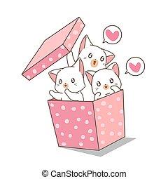 caixa, kawaii, gatos, desenhado, cor-de-rosa, mão