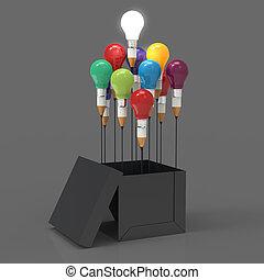 caixa, lápis, conceito, luz, idéia, criativo, exterior, liderança, bulbo, desenho, pensar