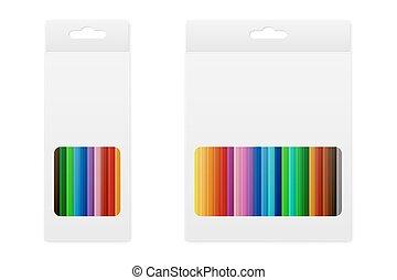 caixa, lápis, vetorial, colorido