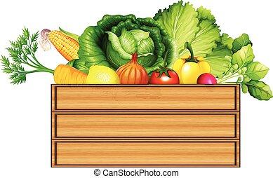 caixa, legumes frescos