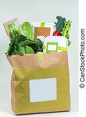 caixa, legumes, verdes, saco, papel, vário, fresco, branca