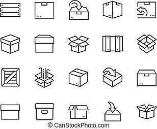 caixa, linha, ícones