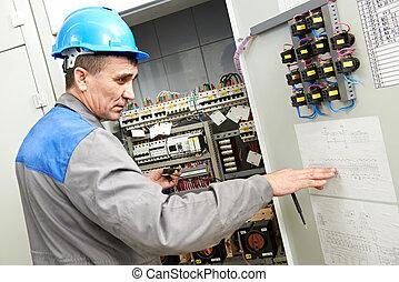 caixa, linha, eletricista, poder, trabalhando