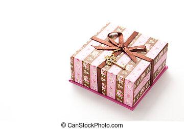 caixa, listrado, presente