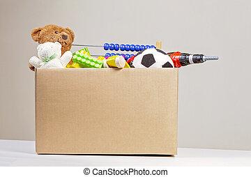 caixa, livros, brinquedos, doação, roupa, caridade
