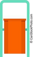 caixa, lixo, isolado, laranja, público, ícone
