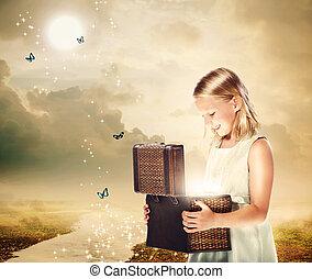 caixa, loiro, tesouro, menina, abertura